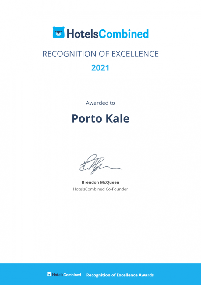 Porto Kale HotelsCombined Award 2021